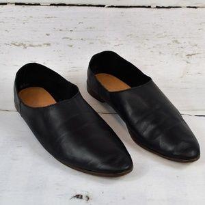 Zara Trafaluc Black Leather Loafers Size 8